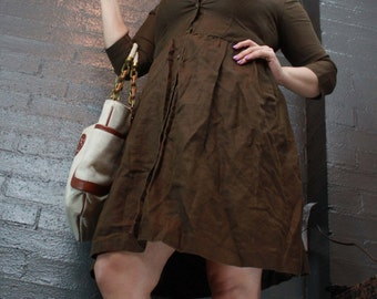 Vintage 90s Brown Button Down Collared Dress Quarter Length sleeve Dress