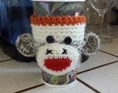 Hand Knit Sock Monkey Coffee Sleeve Cozy