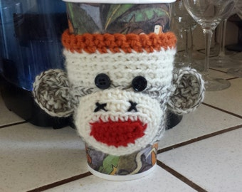 Hand Knit Sock Monkey Coffee Sleeve Cozy