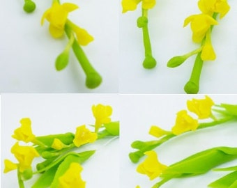 Yellow in Spring, Miniature Handcrafted Polymer Clay Flowers Supply Fresia 8 bunches