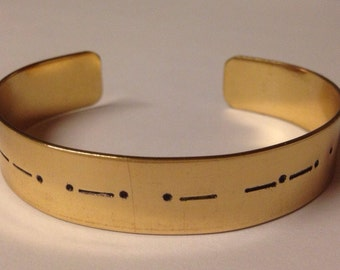 Custom Morse Code hand-stamped bracelet - ONE WORD