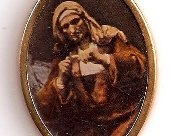 Art Old Woman Cutting Her Nails - Oval shape gold colored metal frame print Dollhouse Miniature Artwork Rembrandt