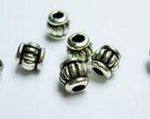 50 pcs engraved antique silver tone beads - ASA186
