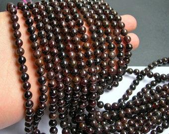 Garnet  - 7 mm round beads -1 full strand - 57 beads  - RFG113