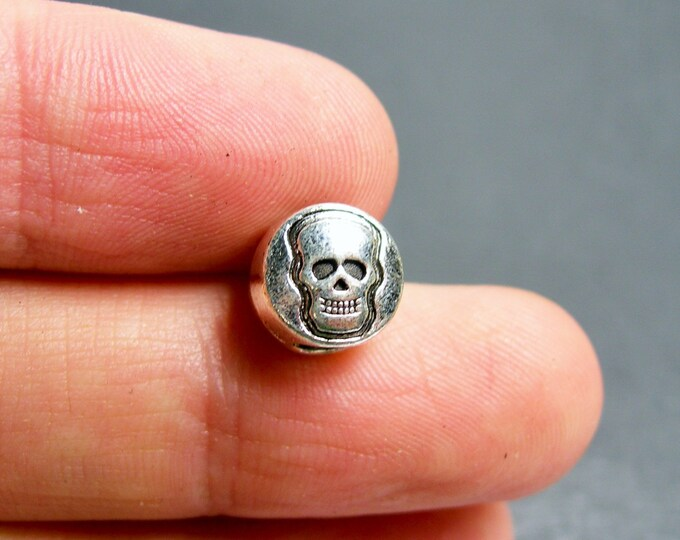 24 pcs engraved skull big hole silver tone beads -  ASA198