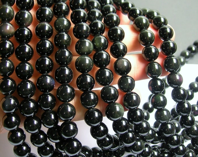 Obsidian rainbow - 10 mm round beads - full strand - 39 beads - AA quality - RFG230