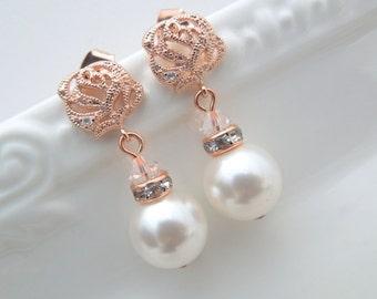 Rose Gold Pearl Bridal Earrings White Swarovski Pearl Bridal Rhinestone Earrings Bridal Stud Earrings Pearl Rhinestone Earrings Rose BAILEY