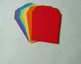 Rainbow Tags, Gift Tags, Decorative Tags, Blank Tags, craft destash, sale, destash