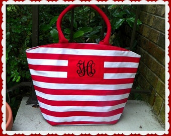 Monogrammed Large Zippered Nautical Red White Striped Tote Bag Bridal Party Favor Bride Bridesmaid Sorority Beach