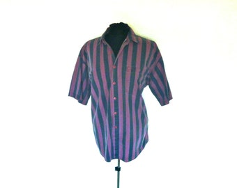 Vintage Anchor Blue® Short-Sleeved Button-Down Shirt with Vertical Navy and Maroon Stripes