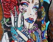 Gypsy Rose Original Acrylic Painting on Wood 9.5 by 11 inches Art Bohemian Hippie Woman Tattoo Bright Wall Art Lowbrow