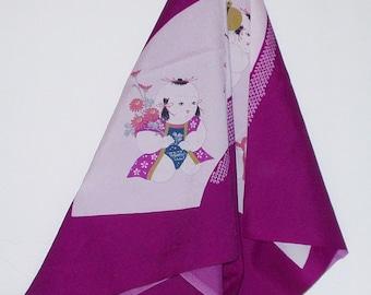 Vintage Scarf Magenta Oriental Theme Rayon  Retro Fashion Head Scarf Neck Purse Kerchief Scarf Accessory