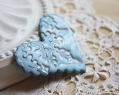 Brooch Shawl Scarf Pin / Sky Blue Pale Light Blue Snowflake Lace Heart / Handmade Winter Christmas Jewelry Jewellery