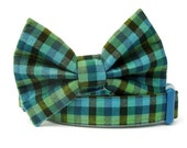 Teal Blue and Lime Green Gingham Bow Tie Dog Collar