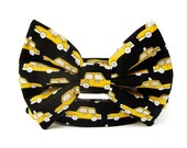 Taxi Cab Bow Tie Dog Collar in Bright Yellow and Black