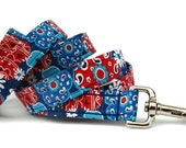 Red White and Blue Floral Dog Leash