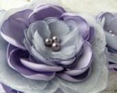 Wedding Sash, Lavender/Lilac Purple, Silver Gray, Bridal Sash, Lilac And Gray Flower Sash, Lavender And Gray, Purple Wedding, Lilac & Silver