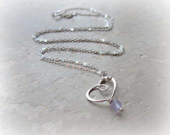 Heart Necklace, Lavender Quartz Pendant, Lavender Necklace,Sterling Necklace,Kids Jewelry,Delicate Jewelry,Wire Heart Pendant,Sterling Heart