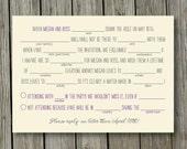 Summer camp rustic wedding Mad Libs reply RSVP card digital file DIY