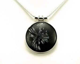 Unique Chrysanthemum Stone Sterling Silver Pendant - N797