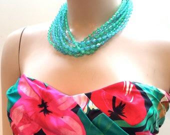 Multi Strands Torsade Translucent Molded Plastic Green Blue Crystals Shaggy Necklace Golden Filigree True Vintage Jewelry 60s artedellamoda