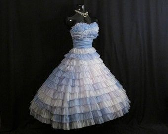 Vintage 50s 1950's Strapless Ombre Blue Tiered CHIFFON Organza Party Prom Wedding Dress Gown
