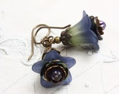 Flower Earrings,Blue Flower Earrings,Lucite Flower Earrings,Purple,Flower,Two Tone,Blue and Yellow Earrings, Flower,Dangle, Lucite