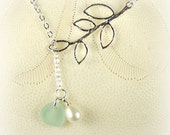 Lariat Necklace GENUINE Aqua Sea Glass Jewelry With Pearl Gift For Her