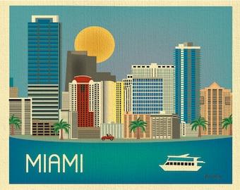 Miami Skyline Art Print, Miami map, Florida State Art, Miami Horizontal, Miami Art Nursery, Loose Petals city art print- style E8-O-MIA