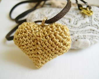 Golden Heart Pendant Necklace - Heart Charm - heart necklace girlfriend gift  - Mother's day gift - Valentine's day gift - Crochet heart