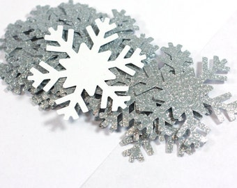 3, 10, 20, 50 Large Silver Glitter Snowflake Cut Outs Cardstock Die Cut Party Decorations Frozen Snowflakes Princess Elsa 2.25 inch punchies