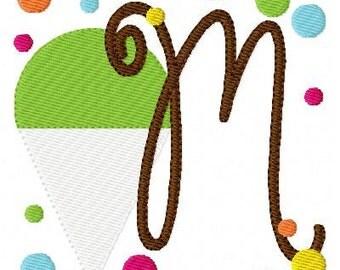 Snow Cone // Machine Embroidery Monogram Font Design Set, Summer Embroidery Design, Monogram Embroidery Font // Joyful Stitches