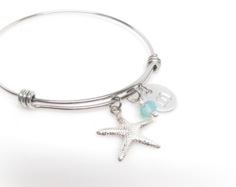 Beach Charm Bracelet  Adjustable Bangle  Designer Inspired  Personalized Initial Jewelry Starfish Beach Wedding Bridesmaid Gift