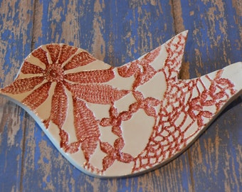 red ceramic bird spoon rest - hand formed lace dish - ceramic trinket dish