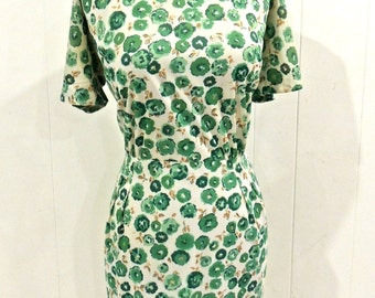 vintage floral pencil dress - 1940s-50s Pavelle green floral dress
