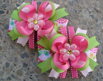 Toddler Hair Bow Flower Hair Bow Set Loopy Flower Hair Bow Hair Bow Pair pink and green hair bows Pigtails hair bows