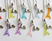 Paris Eiffel Tower Scooter Vespa Birthday Tea Party 10 Party Favor Mixed Colors Necklaces Rainbow
