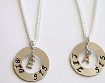 Sister Necklace Personalized Necklace Initial Big Sis and Lil Sis Set Necklace Hand Metal Stamped Sister Jewlery Sister Gift