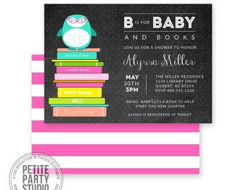 Book Owl Baby Shower Printable Party Invitation - Birthday or Baby Shower - Petite Party Studio