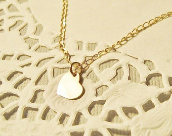 SALE 20% off! Heart Necklace, Tiny heart necklace, Gold filled