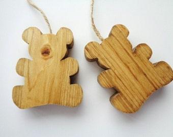 Wood Teddy Bears Rustic Nursery Room Decor Door Hanging