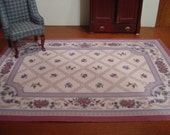 Dollhouse Aubusson rug pink blue beige 1:12 scale