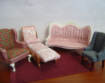 Dollhouse upholstery custom with YOUR furniture reupholstery reupholstering 1:12 scale