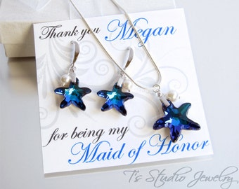 Starfish Bridesmaid Necklace and Earrings Set, perfect for beach theme wedding in Bermuda Ocean Blue - available in other colors