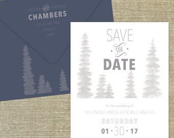"""Forest trees grey and navy save the date, """"Forest""""; SAMPLE ONLY"""