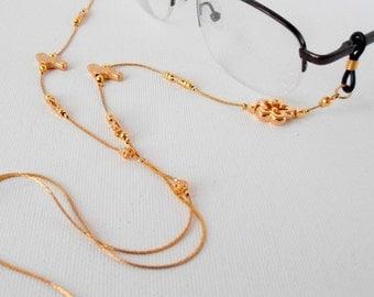 Eyeglasses Holder, eyeglasses Chain,sunglasses Necklace, Gold Plated, Sunglasses Holder, Reading Glasses Lanyard.