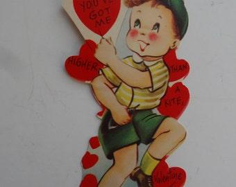 Vintage Valentine Little Boy  Sweet 1950's  or Earlier Retro