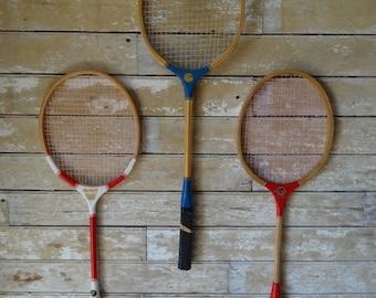 Vintage Badminton Rackets Wooden Set Of 3