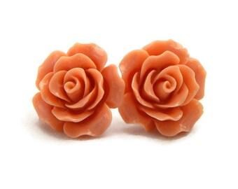 Large Coral Rose Earrings, Rockabilly Earrings, Pin Up Earrings, Peach Earrings, 20mm Rose Earring