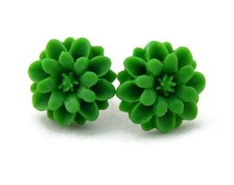 Pinup Green Crysanthemum Flower Earrings, Vintage Inspired, Rockabilly, Retro